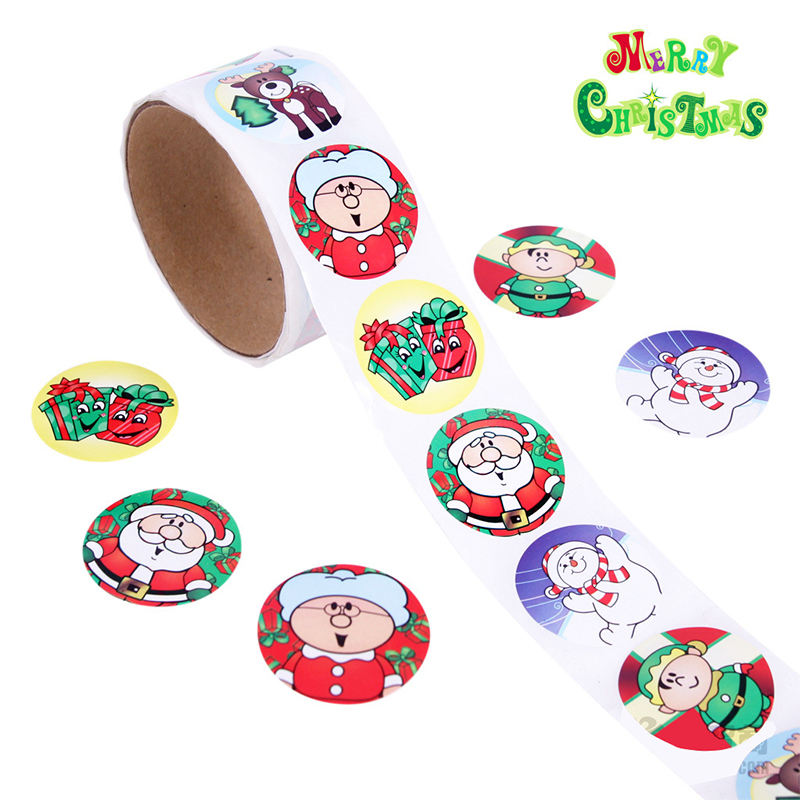 One Roll Creative Adhesive Tape 100pcs MERRY CHRISTMAS Stickers For Kids Great Christmas Gift Colorful Stationery Sticker