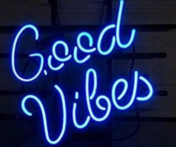 Custom Good Vibes Glass Neon Light Sign Beer Bar