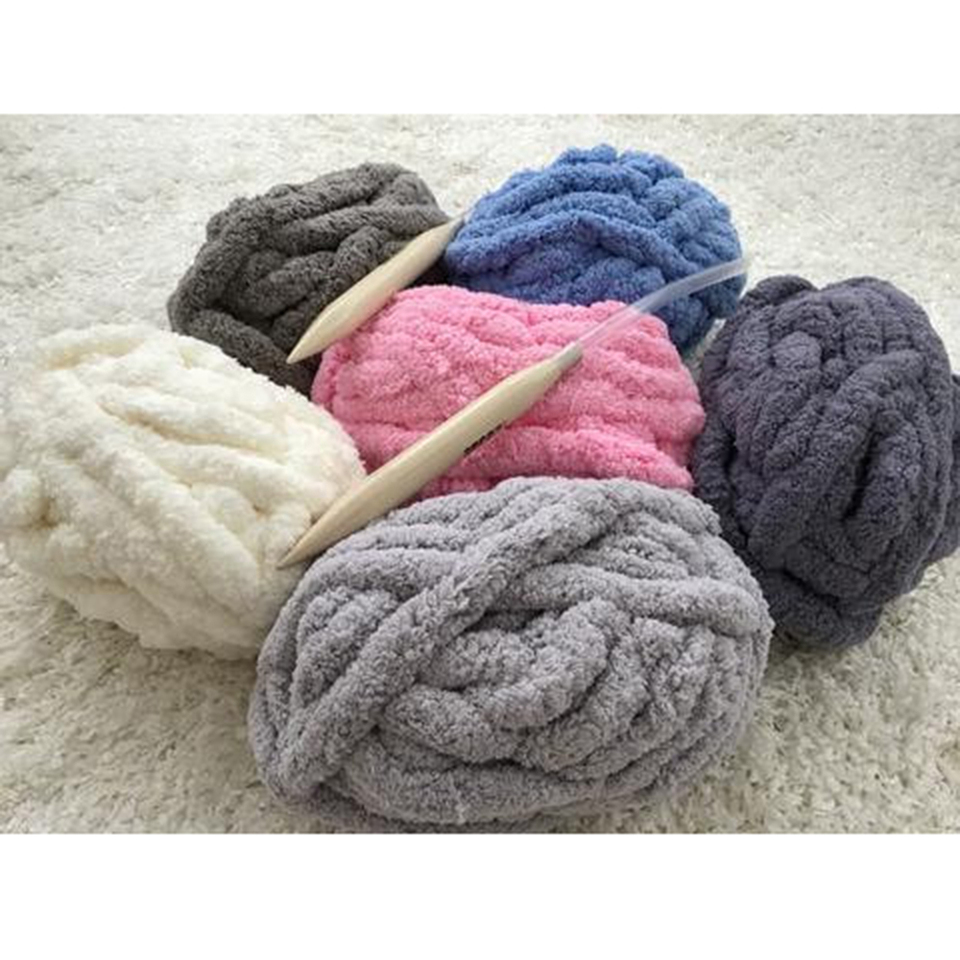 DIY Super Bulky Arm Knitting wool 2.5cm Thick Home Rug knitted Chenille Chunky Yarn For Knitting Hand Knitting Supplies D30