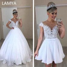 LAMYA уникальный Chiffion A Line 2 в 1 Свадебные платья Съемная юбка свадебное платье Бант два предмета кружева Vestidos De Novia