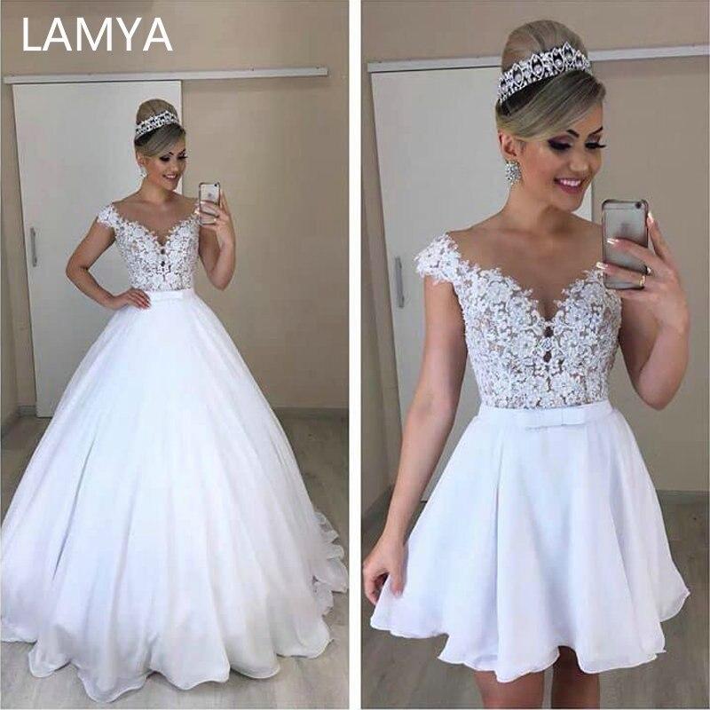 LAMYA Unique Chiffion A Line 2 In 1 Wedding Dresses Detachable Skirt Bridal Dress Bowknot Two Pieces Lace Vestidos De Novia