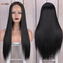 O cabelo de aisi parte dianteira do laço perucas para as perucas sintéticas amarelas longas retas do meio da fibra resistente ao calor natural que olha 13x4
