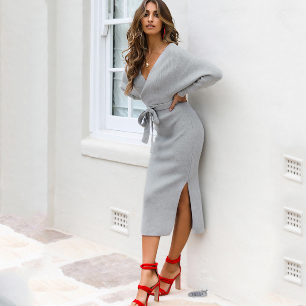 Long Sleeve V Neck With Cross Belt Sweater Knitted Dress 24