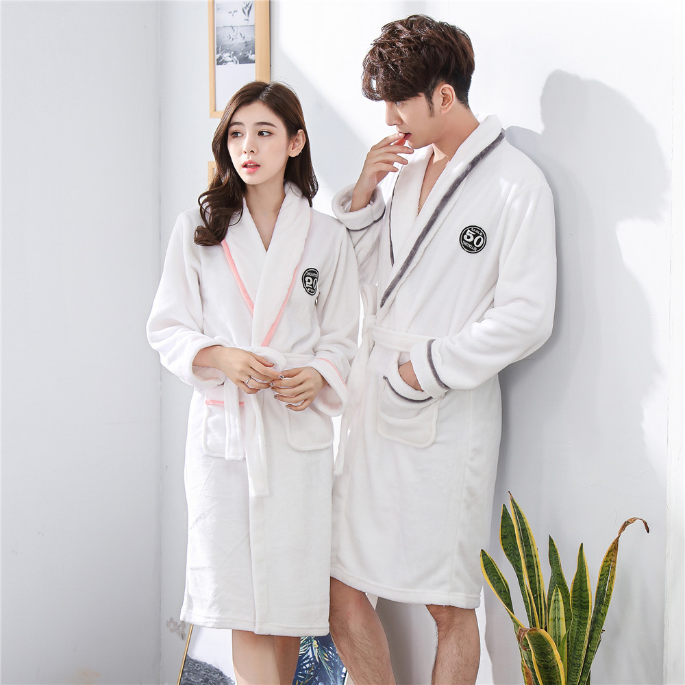 Full Sleeve Intimate Lingerie Nightwear Sweetcouple Coral Fleece Sleepwear Robe Home Dressing Gown Solid Colour Pajamas-set