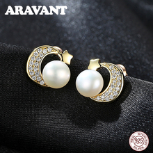 925 Sterling Silver Gold Color Natural Pearl Earrings Star Moon Stud For Women Engagement Jewelry