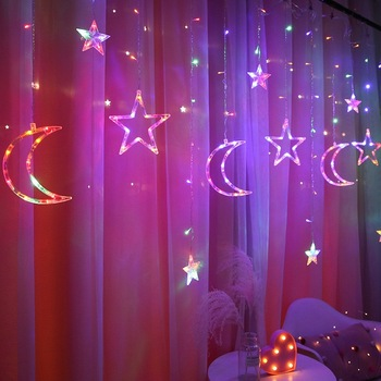 Star Moon Led Curtain Lamp With Different Height Starry Light Led Star Star Led Christmas Stars New Year Decorations Curtain star furniture led
