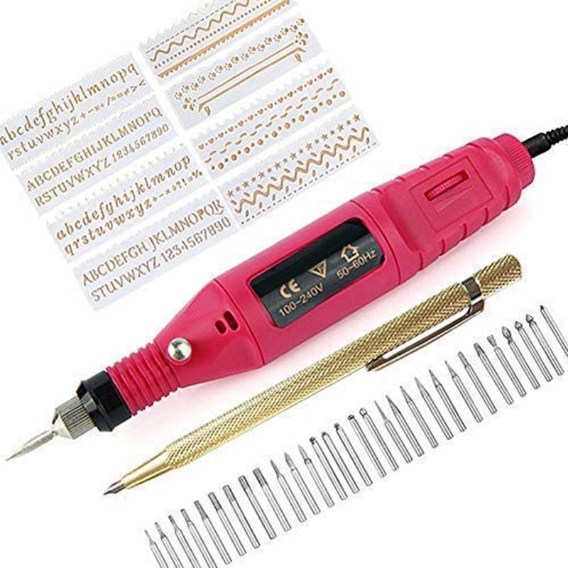 Electric Mini Engraver Pen Mini Diy Engraving Tool Kit For Metal Glass Ceramic Plastic Wood Jewelry With Scriber Etcher 30 Bits
