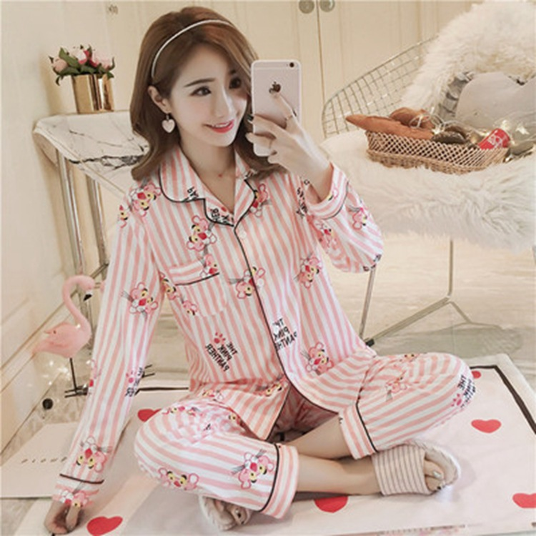 Korean-style Women's Pure Cotton Long Sleeve Pajamas Women's Spring And Autumn 2019 New Style Good Night Silk Nightgown Tracksui