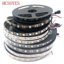 купить DC5V 1m/4m/5m Black/White PCB 30/60/144 leds/m WS2812IC 30/60/144 LED pixels WS2812B Smart led pixel strip lights по цене 110.72 рублей
