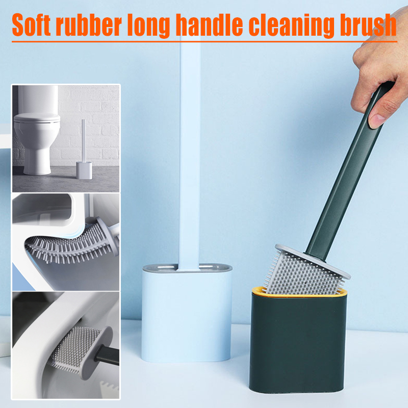 Toilet Brush With Quick Drying Holder Case Set Home Bathroom Accessories Toilet Brush Water Leak Proof With Base Escobilla WC