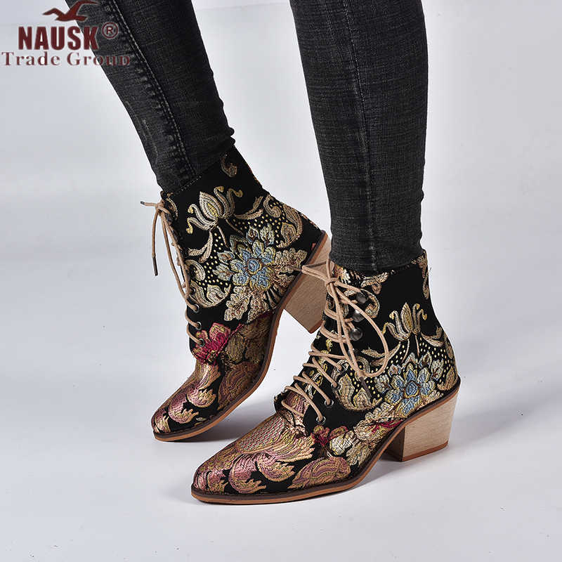 NAUSK 2019 ใหม่ฤดูใบไม้ร่วง Retro ผู้หญิงเย็บปักถักร้อยดอกไม้สั้น Lady Elegant Lace Up รองเท้าข้อเท้าหญิง Chunky Botas Mujer
