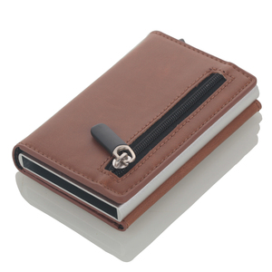 Image 4 - 2020 Multifunction Card holder Wallets PU Leather RFID Credit Card Holders Aluminum Alloy Business ID Bank Card Protector Case