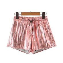 Short for Women High Waist Shorts Glossy Stylish Pink Sweet Drawstring Tie Casual Chic Female Tide Solid Retro