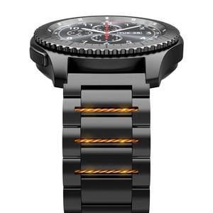 Image 2 - HOCO 22mm רוחב נירוסטה להקת עבור Samsung ציוד ספורט S3 Galaxy שעון רצועת מתכת צמיד, שחור וכסף צבע