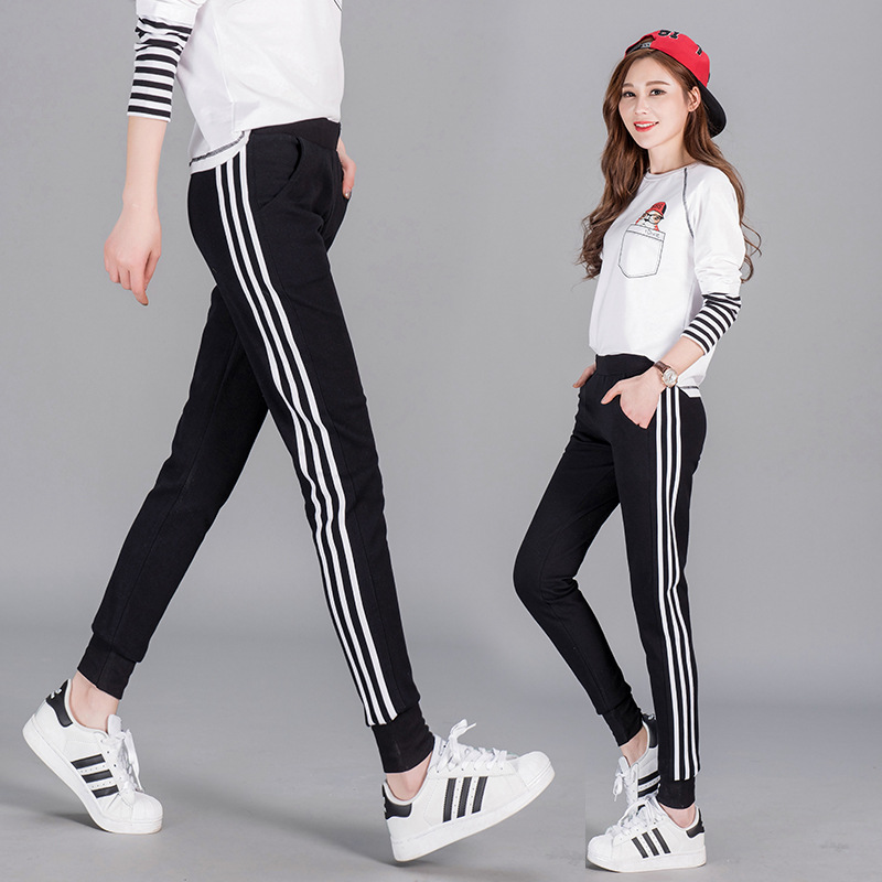 2019 Spring New Style Korean-style Fashion Three Bars Closing Foot Slimming Students-Style WOMEN'S Pants Comfortable Versatile G