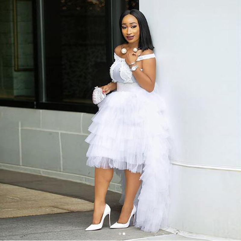 White High Low Tulle Skirts High Street Custom Fashion Tiered Tulle Long Skirts Women To Party Female Maxi Tulle Skirts