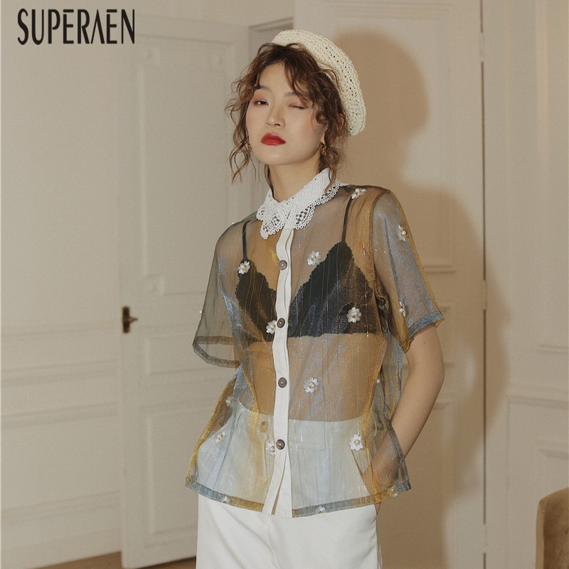 SuperAen Lace Sunscreen Shirt Women 2020 New Summer Short Sleeve Ladies Blouses And Tops Pearl Embroidered Women Clothing