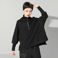 Spring clothes 2019 plus size tshirt women black vintage batwing long sleeve stand collar pockets casual tops vogue streetwear