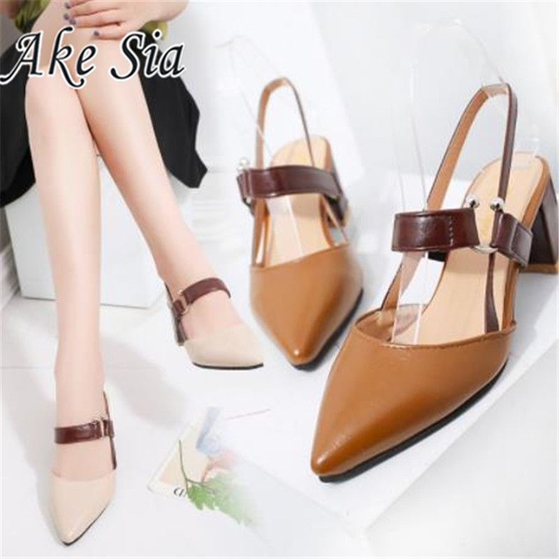 2019 Spring New Hollow Coarse Sandals High-heeled Shallow Mouth Pointed Pumps Shoes Work Women Female Sexy High Heels Zapatilla