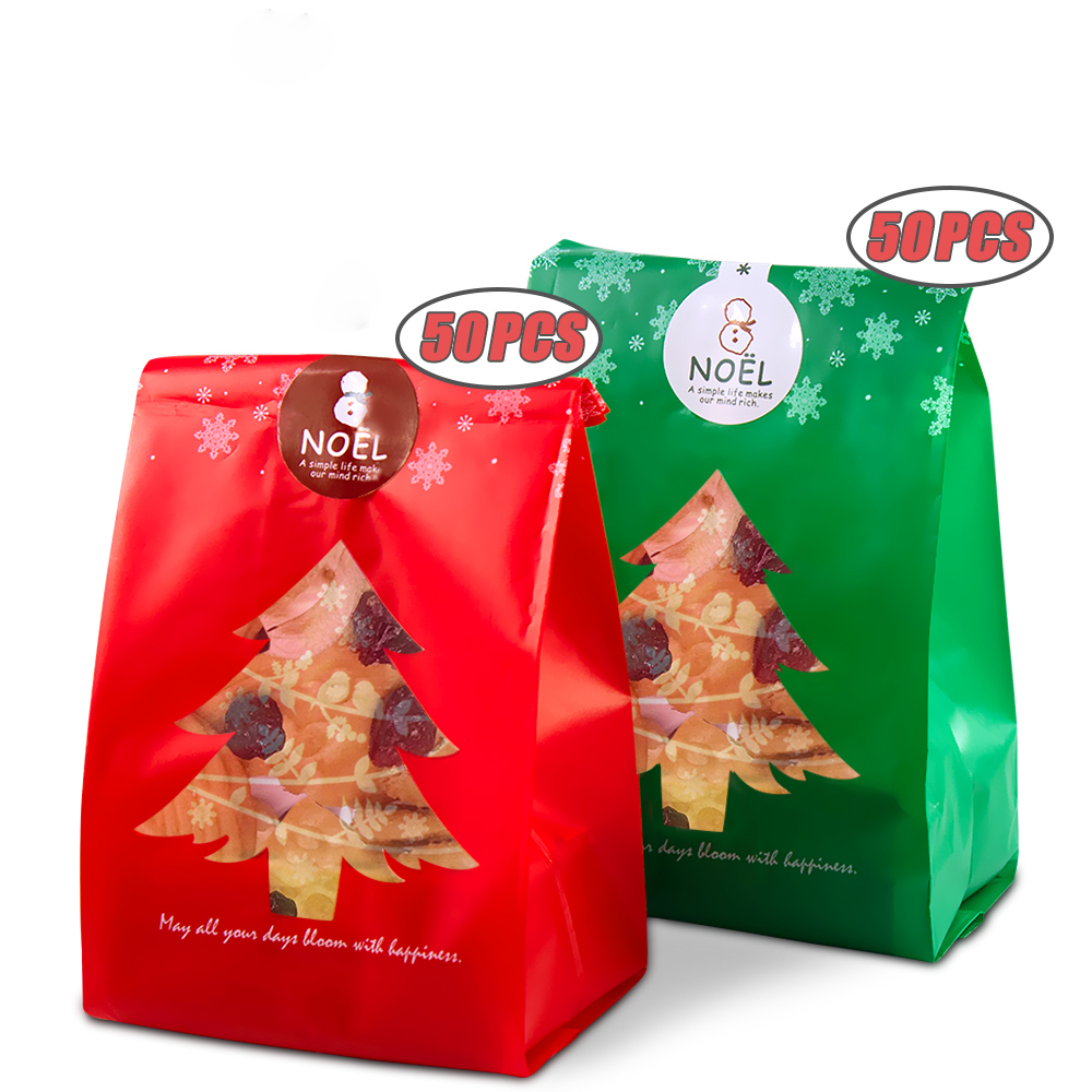 AIR&TREE-C 50pcs Red/Green Christmas Gift Bags Candy Box With Snowflake Xmas Dessert Cookie Bags Christmas Decorations For Home