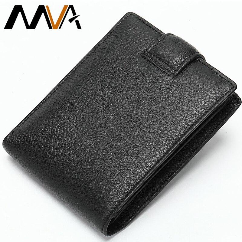 Men Black Genuine Leather Bifold Small Wallet