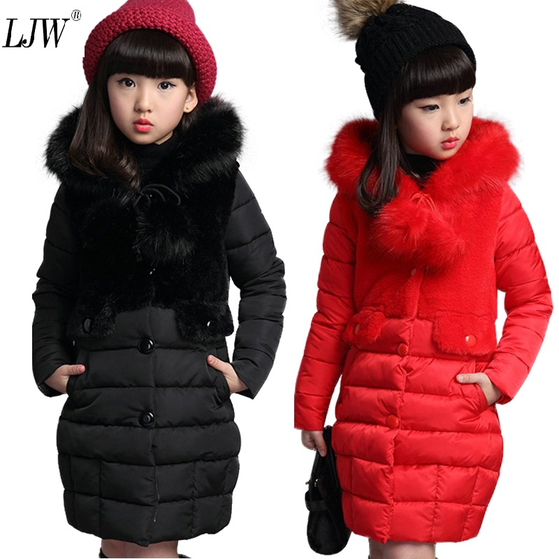 Girls Warm winter Coat Artificial hair fashion Long Kids Hooded Jacket coat for girl outerwear girls Clothes 4-12 years old