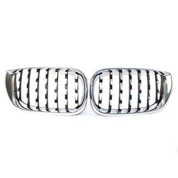 Pair Front Chrome Grill Latest Diamond Metero Style For BMW E46 02-05 3 Series 320i 325i 330i 330xi 325xi 4 Door Sedan Facelift