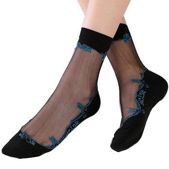 1 par de nuevos calcetines de encaje para mujer de moda de verano calcetines cortos finos de seda transparente con brillo calcetines elásticos medias de malla