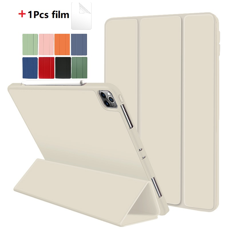 White Red Protective Tablet Case For iPad Pro 11 Case 2020 with Pencil Holder Shockproof Stand Back Shell