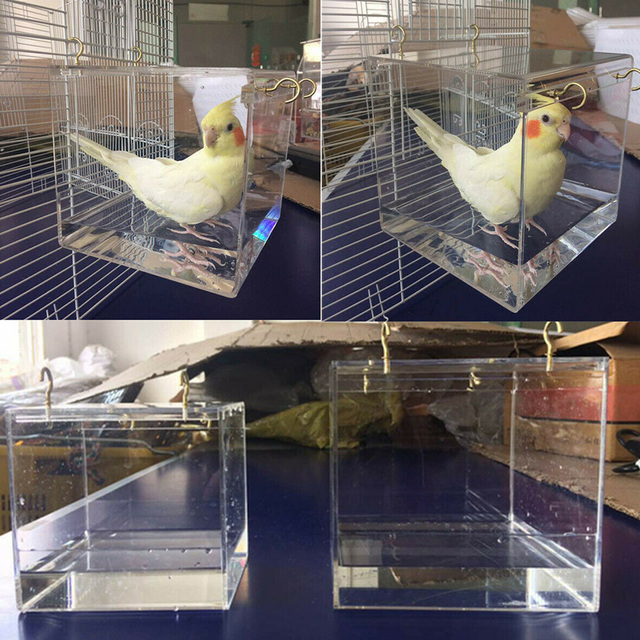 Shower With Hanging Hooks Transparent House Bird Bathtub Spacious Cleaning Parrots Acrylic Pet Supplies Cage Cockatiel Portable 5