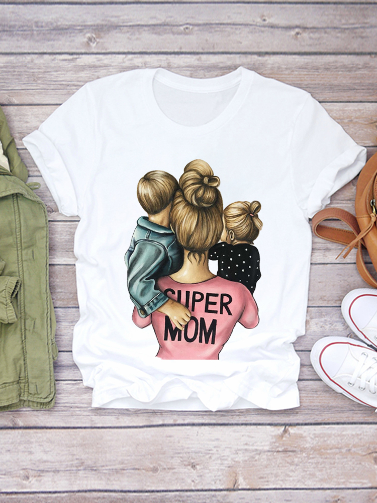 Top T-Shirt Graphic Print Female Super-Mom Life-Momlife Cartoon Summer Lady Ladies Tee