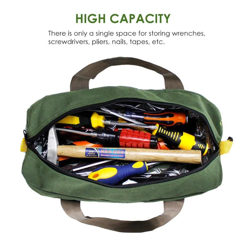 12-16 Inch Tool Bags Canvas Waterproof Hand Tool Storage Bag Toolkit Screwdrivers Pliers Metal Hardware Parts Organizer Pouch