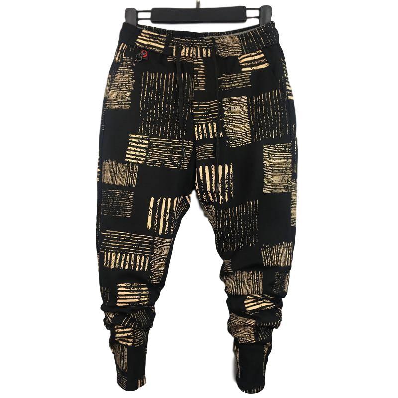 Idopy Men`s Hip Hop Harem Pants Drawstring Elastic Waist Printed Patterned Tapered Pants For Male