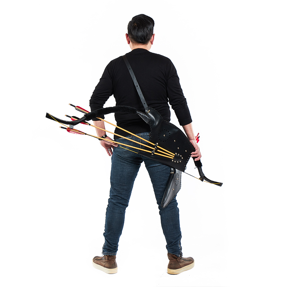 1 Archery Arrow Quiver + 1 Bow Bag Case Durable Black Composite Leather for Adult Outdoor Hunting Sling Shot Shooting Accessory