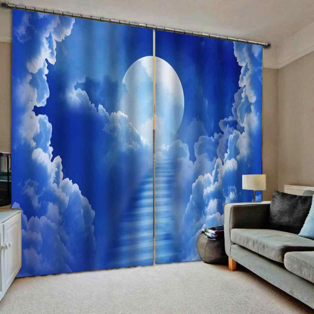 3D gordijn aanpassen Maan witte wolken voor woonkamer slaapkamer verduisterende photo print gordijnen