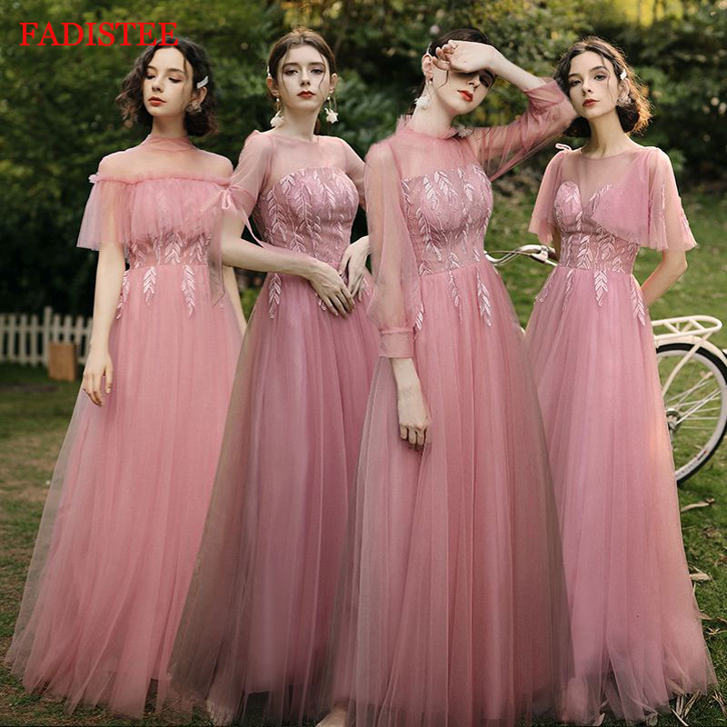 Bestidos De Fiesta Elegant Long Bridesmaid Dresses Lace Style Wedding Party Dress Vestidos De Fiesta De Noche Under 50$