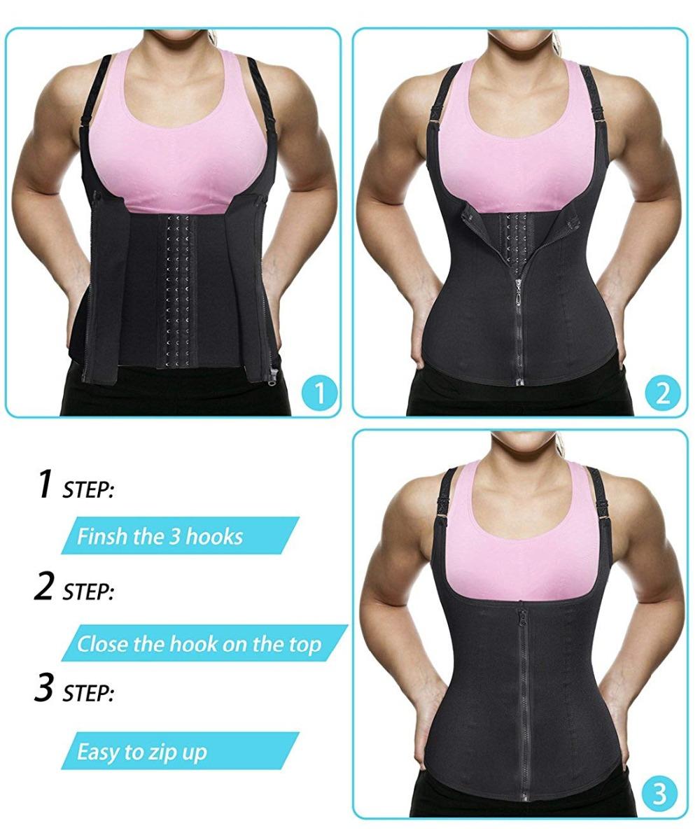 CXZD Women Waist Trainer Corset Zipper Vest Body Shaper Cincher Shaperwear Waist Traine Push Up Vest Tummy Belly Girdle Body Shaper (9)