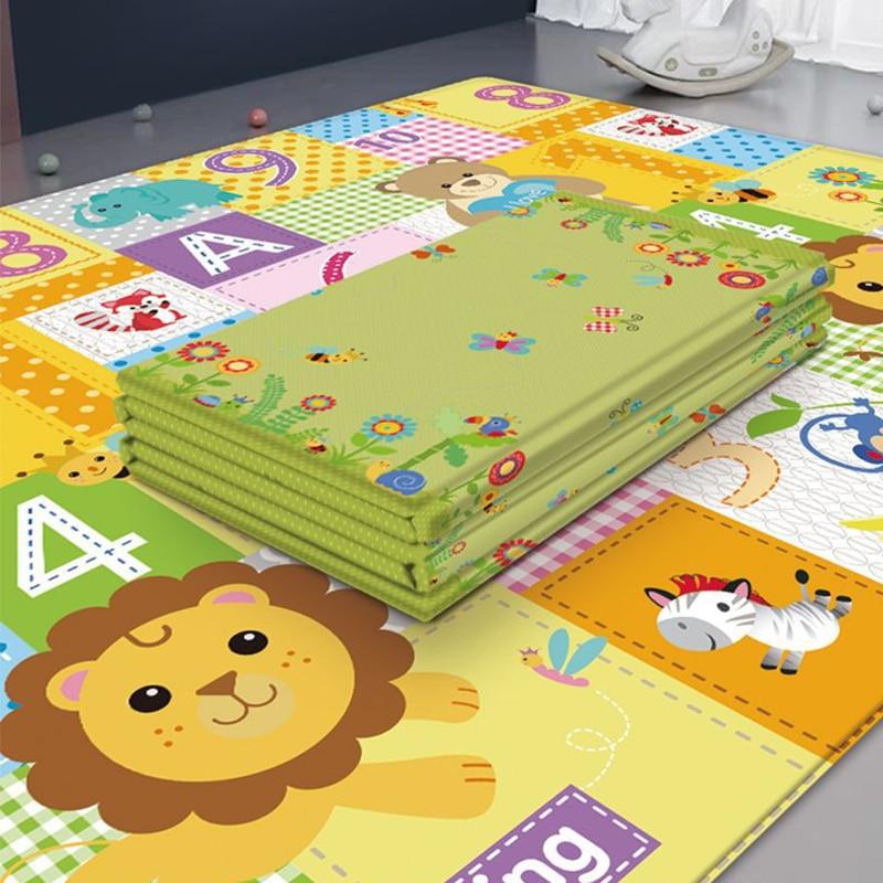 Baby Kid Toddler Foam Playmats Foldable Floor Carpet Room Decoration Round Carpet Children Developing Mat Toy Storage Bag