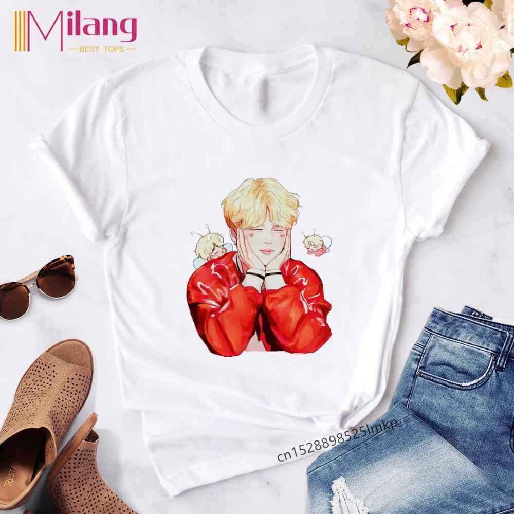 Kawaii Funny kpop Femme t-셔츠 하라주쿠 Ullzang 패션 한국어 스타일 t-셔츠 여성 캐주얼 반소매 JIN SUGA J HOPE Tops Tee