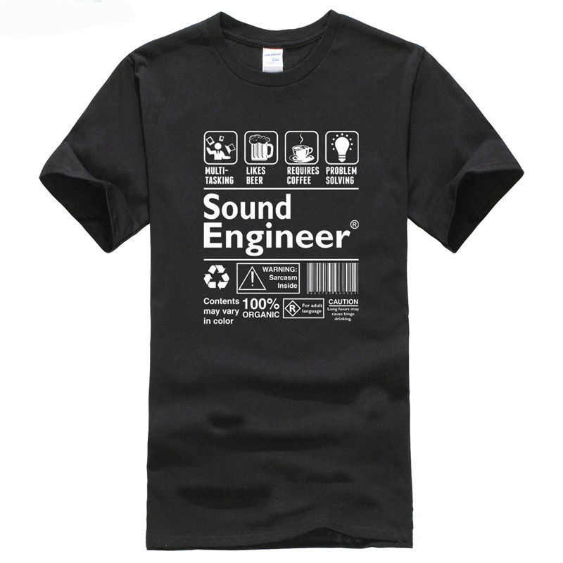 Personalised T Shirts Men's Printing Camisetas Sound Engineer Explained T Shirts O Neck Mens T-Shirts For Men Vintage