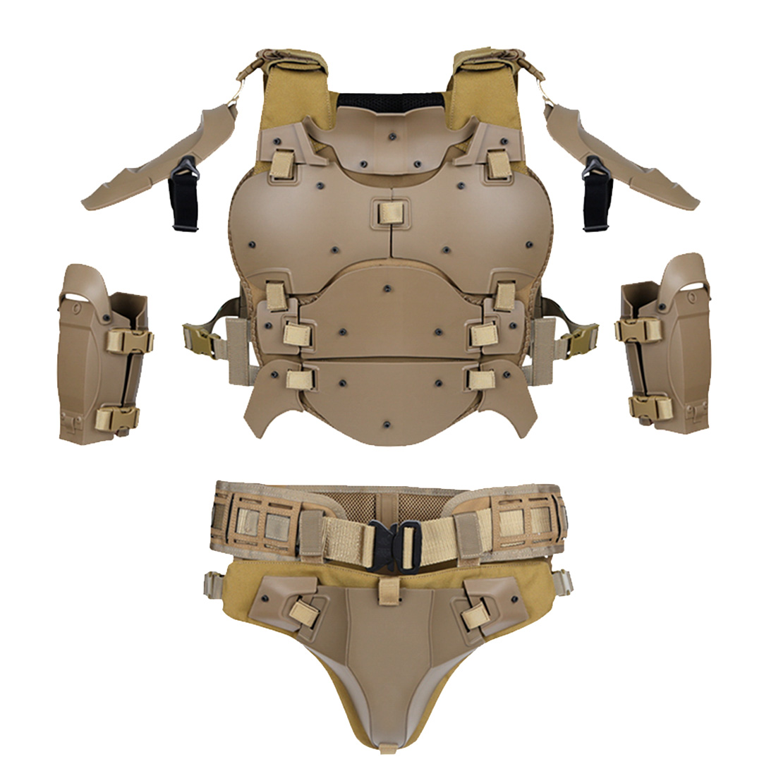 WST Outdoor Multi-function Tactical Armor Set Adjustable Tactical Elbow Pad Waist Seal - Tan