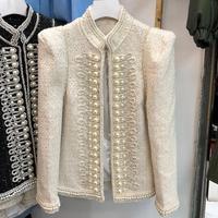 Autumn vintage small fragrance stand collar tweed jacket women long sleeve diamonds pearl heavy work court coat