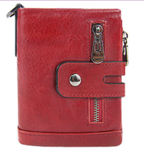 RFID anti-theft swipe wallet multi-card position mad horse leather men's leather wallet short style