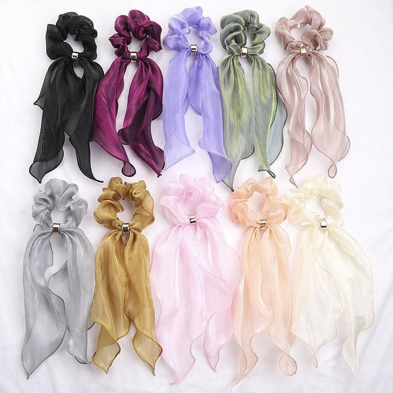 1PC Glitter Yarn Scrunchies Long Streamer Hair Ring Women Bow Elastic Hair Ties Elegant Solid Color Ponytail Hair Accessories