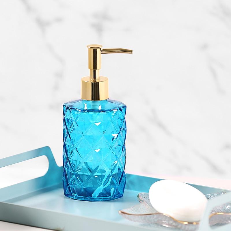 Nordic Lotion RetroDark Green Glass Hand Sanitizer Press Bottle Home Hotel Bathroom Bump Texture Hand Sanitizer ShowerGel Bottle