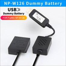 Cable cargador de Banco de energía USB NP W126 batería simulada CP W126 acoplador DC para cámaras Fujifilm X T3 X PRO1 HS33 HS30 HS50 EXR