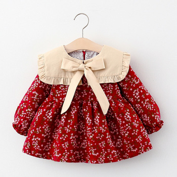 baby girl dress newborn infant toddler clothes cotton sleeveless bow birthday party princess dress baby girl clothes Baby Clothes Girl Dress Winter Newborn Infant Dress Fashion Cute Cotton Floral Bow Princess Party Dress Ropa Bebe