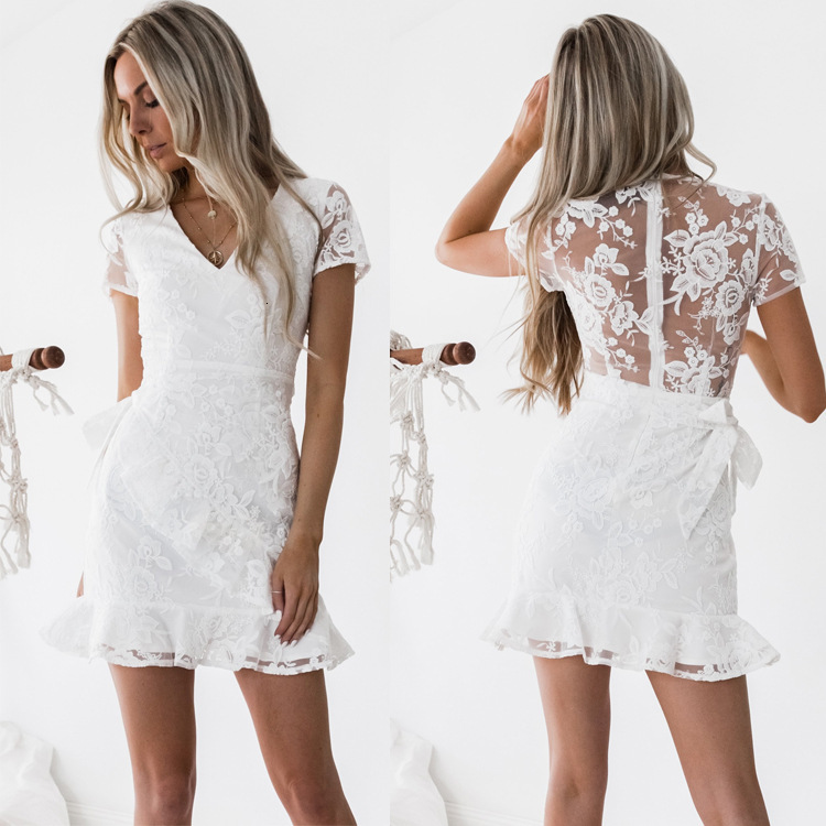 BacklakeGirls 2019 White Embroidery Lace Woman Cocktail Dress Elbise Short Formal Dresses Vestidos De Coctel