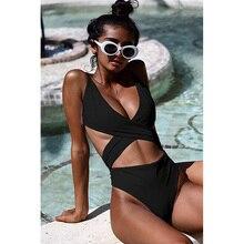 2019 Push-Up Bikinis Sexy black bandage design Halter bikini swimsuit women Low Waist Women swimwear swimming Brazilian Biquini