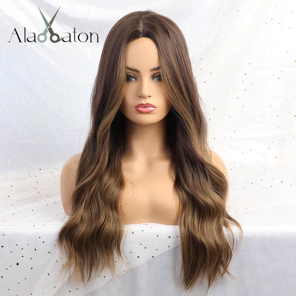 ALAN EATON Long Curly Ombre Brown Ash Blonde High Density Temperature Synthetic Wigs For Women Glueless Wavy Cosplay Hair Wig